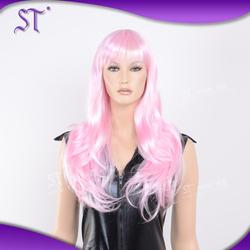 fashion long kinky curly pink cosplay