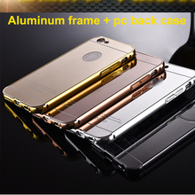 For iphone 6 metal case aluminum+acrylic metal bumper mobile phone case mirror back cover