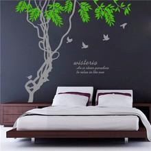 Colorcasa çıkarılabilir vinil duvar sticker aile dekoratif ağaç ve kuşlar duvar çıkartma sanatı için duvar kağıdı oturma odası( zy8475)
