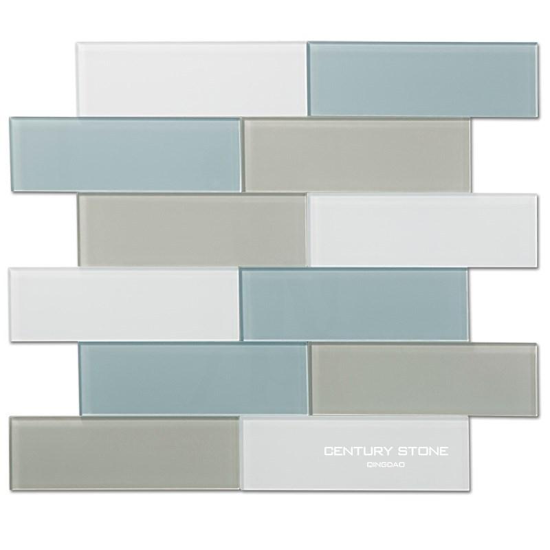 3x8 inch blauw grijs en wit crystay glazen tegels voor badkamer en ...
