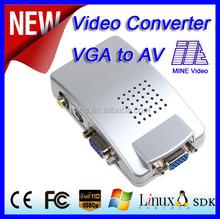 Wholesale price VGA to AV Converter with no delay 1080P HD display VGA input/ VGA + s-video + AV output support USB power supply