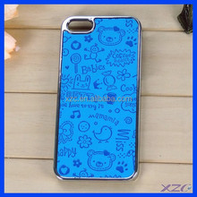 2015 Blue color Leather Sticker Cell Phone case for iPhone 5/5s ,stone cover for iphone