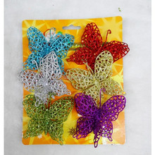 Christmas tree decoration Gold flower, Colorful Butterfly