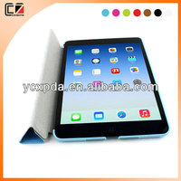 leather sticker on both side with 4 folded PU flap leather cover case for iPad mini 2