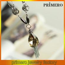 PRIMERO fashion Glass zircon crystal drop necklace Clothing decoration long necklace apparel accessory silver crystal necklace