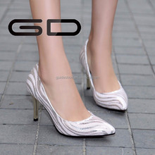 2015 new design office lady fashion pink color pointed toe leather pumps shoes