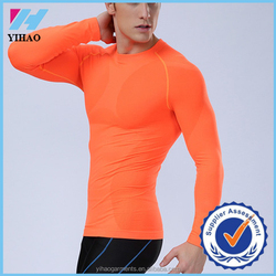 Yihao Newest fitness men long sleeve basketball running sports t shirt men thermal muscle bodybuilding gym compression shirt