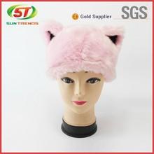 Pink Color cute animal plush sheep hat, faux fur adult animal winter hat