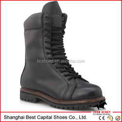 black long tongue with black speed shoes lace /rubber sole /leather military boot tactical boots