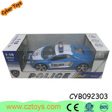 2015 hot sale 4 channel RC police car toy with bule and black for kids for sale