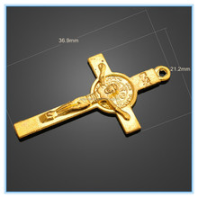 Religious Charms Catholic Golden St. Benedict Cross Pendents Gold Plated Black Enameled Jesus Crucifix Metal Shoelace Charm