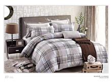 New design grey checked pattern UK size 100% cotton pigment print duvet cover sets
