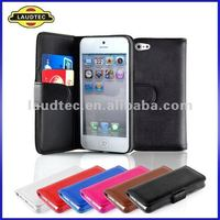 2012 NEW Arrival Wallet Leather Book Case for iPhone 5, 2 Slot for Credit Cards,1 Slot for Money,Laudtec