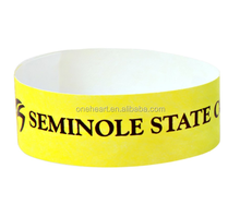 Custom Fashionable Tyvek Wristband with Black Logo in Yellow Color Printing