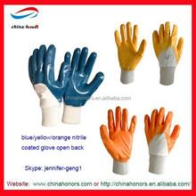 Interlock liner blue/yellow/orange nitrile coated glove open back