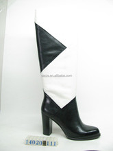 black and white sheepskin upper pigskin lining genuine leather high heel riding boots