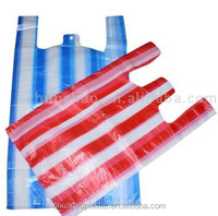 HDPE striped shopping packaging plastic T-shirt bags