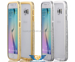 For Samsung Galaxy S6 bling metal bumper case, for galaxy s6 edge crystal aluminum case