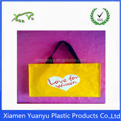 HDPE plastic yellow shopping bag with soft loop handle bag