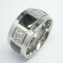 Wholesale high quality fashion mens stainless steel finger rings,mens rings with big CZ stone