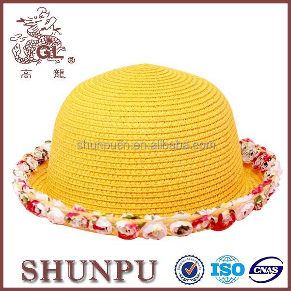 สีเหลืองแบนบนหมวกร่มสำหรับเด็ก, ขนแกะหมวกรูปแบบสำหรับเด็ก