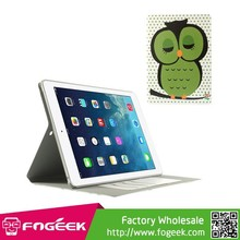 Fast Shipping Adorable Green Owl & Dots Smart Card Slot Leather Shell for iPad Air 5 w/ Stand