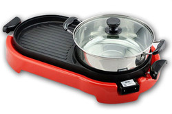 No smoking Korean electric BBQ grills with hot pot pan,BBQ Steamboat Teppanyaki 2 in 1 Electric Pan Grill Combination