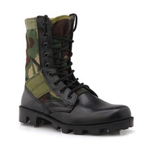 2015 New camouflage Genuine Leather&Canvas Green Military Boot,Jungle boots Rubber Boots,Military Security Equipment