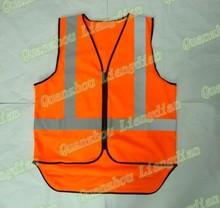 orange knitted high visibility long back reflective safety vest