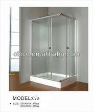 made in Zhejiang China factory direct price big suppliers in the Middle East silver stain aluminum out door REC shower enclosure