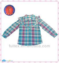 Dernières robes de mode infantile 2013 fille, blouse à carreaux à manches longues(410304)