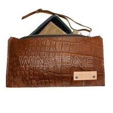 Embossed Crocodile Brown Real Leather Pencil Case