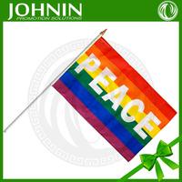 PEACE custom 100% polyester hand rainbow flag with flagpole