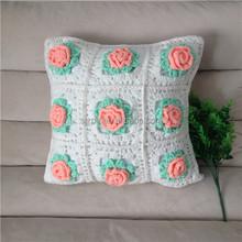Ganchillo a mano cojín de cubierta, ganchillo funda de almohada con flores