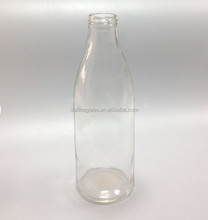 1000ml 1L transparent glass dairy milk bottle, bulk milk glss bottle with screw metal cap