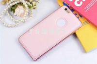 2015 New Luxury Slim Ultra Thin Aluminum Metal Phone Bumper High Quality Real Leather Back Case for iPhone 5 5S