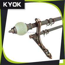 KYOK New Products Antique Brass Round Ball Finial Curtain Rod, Polished Copper Curtain Rods 25mm Metal Eyelet Grommet