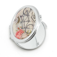 silver framed newest best shell compact mirror