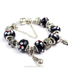 PDR074 2015 Most Popular Products Silver Jewelry Bracelet, Murano Glass Beads Charms Bracelet Fashion Jewelry