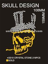 Special skull rhinestone hotfix glitter vinyl design for t-shirts