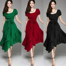 Instyles women 's Maxi Chiffon Vintage Short Sleeve Long Ball Party Irregular Evening Dress ZT000664 outle fashion Supplier Clo