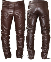 pu leather pants mens brown leather pants heavy fet