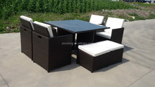 4 People rattan cube rattan outdoor furniture