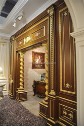 French Hand Painted Door Frame with Gold Leaf, Antique Luxury Gold and Brown Gate With Column Decorated