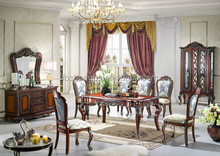 Classic european style wooden dining room furniture,solid wood dining table and chairs set