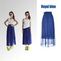 nueva moda las mujeres maxi damas falda de gasa plisada largo elástico en la cintura banda g0135