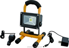 10w led portable rechargeable flood light red, blue, yellow housing