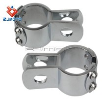 "Chrome Billet 1 1/2"" Footpeg Clamps Custom Demon Choppers King Kong Greem Reaper Street Glide 1 1/2"" Footpeg Clamp Softail"