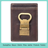 Custom brown color genuine Leather money clip wallet / wallet with a bottle opener gold color beer opener