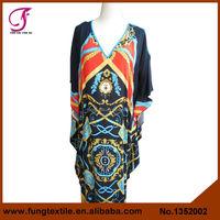 1352002 Women Long Design Unique Pattern Relaxed Cotton Fancy Kaftan